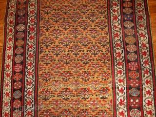 #1B414  Hand made antique Persian Kurdish rug 4.1' x 7.7' ( 125cm x 235cm ) 1880.C
