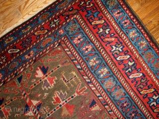 #1B415  Handmade antique Persian Kurdish rug 4' x 7.6' ( 122cm x 231cm ) 1880.C