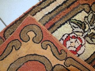 #1C335  Handmade antique American hooked rug 1,6' x 2,10' ( 49cm x 91cm ) 1900.C