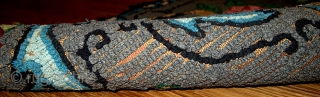 #1C75  Hand made antique American Hooked rug 1.8' x 3.5' ( 54cm x 106cm ) C.1920