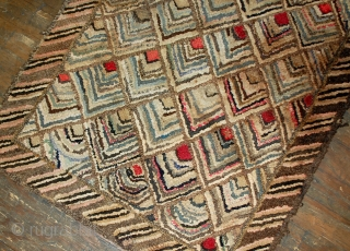 #1B497  Hand made antique American hooked rug 2' x 3' ( 61cm x 91cm ) 1900.C