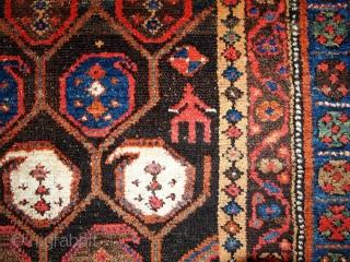 #1B418  Handmade antique Persian Kurdish rug 3.10' x 5.9' ( 120cm x 179cm ) 1880.C