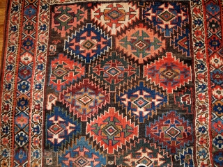 #1B423  Handmade antique Persian Kurdish rug 4.2' x 6.3' ( 128cm x 193cm ) 1880.C