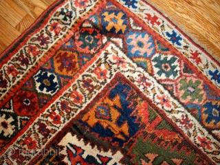 #1B423  Handmade antique Persian Kurdish rug 4.2' x 6.3' ( 128cm x 193cm ) 1880.C