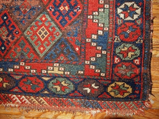 "#1B332 Persian ""Kurdish"" bag face 2.4' x 3.3' 1880, in original condition: has some age ware."