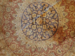 #1C298  Hand made antique silk Turkish Kayseri rug 4.2' ( 130cm ) C.1900