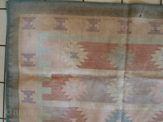 #1C534  Handmade vintage Indian Dhurrie kilim 4' x 5.7' ( 123cm x 174cm ) 1950.C