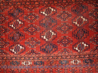 #1B333 Collectible Turkoman chuval rug 3' x 4.5' 1880, in original condition: has some age ware.