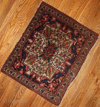 """#1B336 Persian """"Sarouk Farahan"""" bag face 2.1' x 2.8' 1880,in original good condition."""