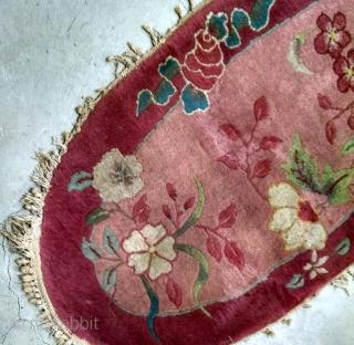#1B567  Handmade antique Art Deco Chinese rug 2' x 4' ( 60cm x 121cm ) 1920.C