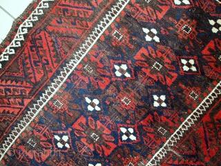 #1C489  Handmade antique Afghan Baluch rug 3.2' x 6' (100cm x 184cm) 1920.C