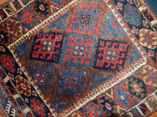 #1B335 Antique collectible NW Persian Kurdish bag face 2.2' x 2.7' 1880,in original good condition.