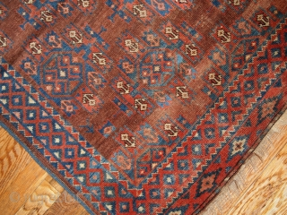 #1B205  Hand made antique collectible Turkoman rug 3.8' x 5.6' ( 116cm x 170cm ) C.1880