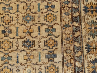 #1B473  Hand made antique Caucasian Shirvan rug 3.9' x 4.10' ( 119cm x 152cm ) C.1890