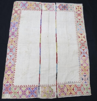 Anatolian, Silk embroidery on cotton wih three panel .115 x 90 cm