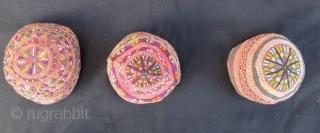 Antique Turkmen hats 9 pieces set in good condition