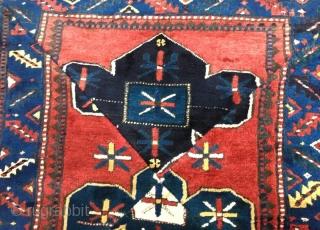 Antique Caucasian pachwork rug,120 x 110 cm
