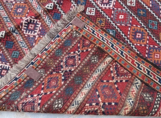 Persian Quchan Kurd kilim,pure wool embroidery natural color .284 x 150 cm