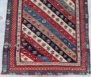 Early Caucasion rug with damage. 250 x 100 cm