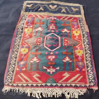 Dagistan Avar Kilim Torba with Leather and metal silver embroidery.38 x 28 cm