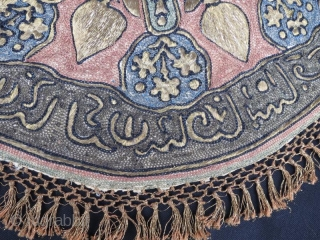 Antique Ottoman Silver embroidery round sirma,56 x 56 cm