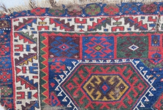 Antique Kurdish Jaff with damage .255 x 234 cm