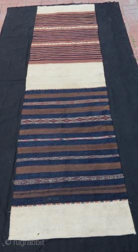 Turkish Bergama Chuval, pure wool with silk embroidery .294 x 73 cm