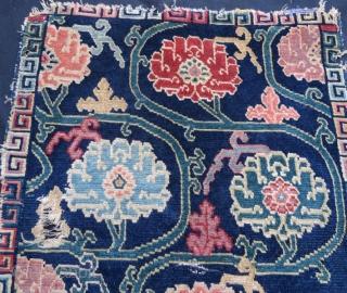 Antique Tibet rug damage condition, 78 x 55 cm