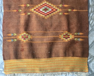 Syrian Halepo yastk pure wool natural color,with silver weaving has been little old repair.