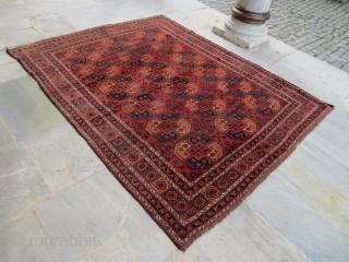 ANTIQUE Turkmen Ersari Tribal 19 th Century ,With damage, Pure Wool Natural color . 285 x 230 cm .112'x90'