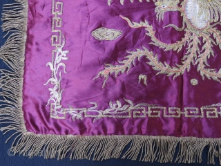 Chinese Silk and metal embroidery in good condition 60 x 50 cm 