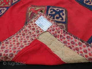 ANTIQUE Kyrgyz Triba Lakai Mirror Cover ,leather pachwork with old cotton fabric, Wall Hanging .58 x 58 cm