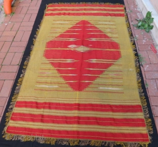 Antique Syeian Halepo kilim very fine hand weaving with silver metal,213 x 128 cm .