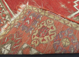 19th century Anatolian Rug With Damage .140 x 100 cm