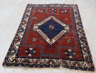 early caucasion Fahrola rug with damage ,190 x 150 cm