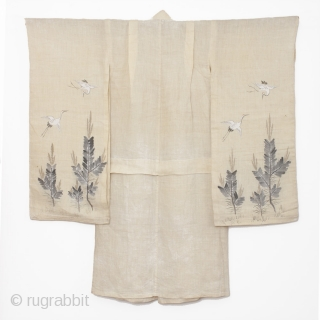 This is a beautiful girl's hemp kimono with hand painted motifs of crane and pine. For the Japanese, the crane--or tsuru--is considered a national treasure, appearing in art, literature and folklore. The  ...