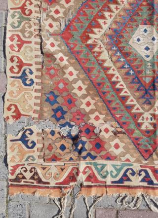 18.th century Anatolian Kilim sıze 142x255