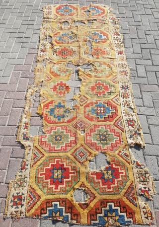 18.century Yellow Konya rug sıze 112×295