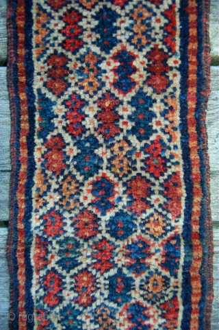Interesting antique persian tribal trapping. Possibly Khorrosan kurdish or maybe veramin? The size implies a use other than a bag. Original with no back. perfect condition with organic dyes just needs to  ...