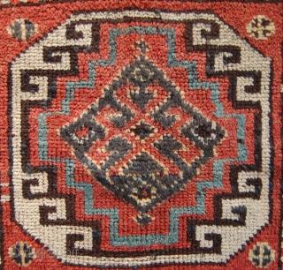 Kurdish bag face with a memling gul design. Circa 1900. 49 x 54cm.