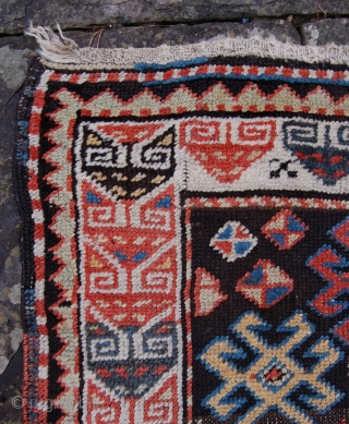 Interesting and graphic karabagh rug. 19th century.262 x 120cm. The field design is reminiscent of the design on some shashavan bagfaces. Some low pile and corrosion but priced fairly. Recently cleaned.