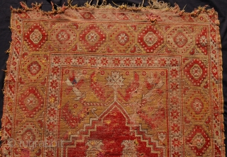 So called Transylvanian prayer rug. West anatolia. Circa 1750. 155 x 110cm. Recently discovered and very dirty, in need of cleaning.