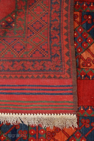 Lovely antique Ersari Afghan carpet. 338cm x 240cm. Super condition [some minor wear to one kilim end] and great colours including a good green. No repairs done or needed.
