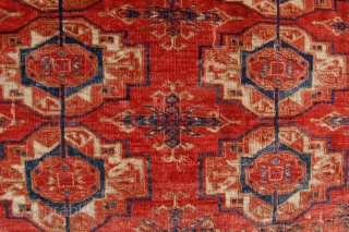 Twelve gul tekke torba. Circa 1800. 125 x 52cm. Some condition issues but a regal addition to the tekke torba genre.