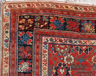 Interesting and quite early north west persian rug. Early 19th century. Complete but in need of some work. Old reweaves to the ends and a tension cut in the field. Beautiful colour.  ...