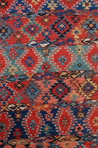Rare antique kurdish kilim. Probably jaff tribes. 19th century. See plate 17 in Burn's Kurd book for similar. Untouched with small holes. Lovely colour and very unusual. 297 x 190cm.