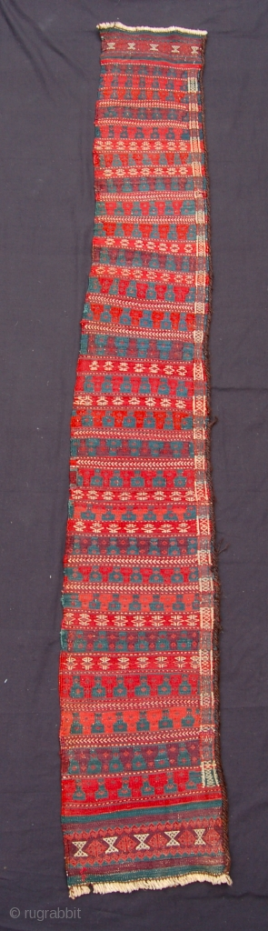 Baluch flat weave gun cover [or fragment?] 208 x 30cm. Good dyes. late 19th.c.