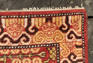 Antique Khotan rug in remarkable condition. Good pile, no repairs and original ends and sides.Early 19th century. 9 x 4 feet. [aprox. 274 x 122cm ]