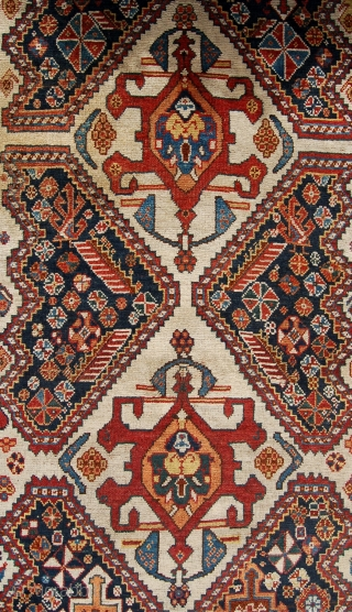 Antique Qashqai rug. South west persia. Late 19th century. 188 x 114cm. Fresh to the market with even low pile and edge losses at the top. Yet to be cleaned.