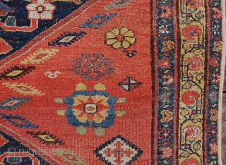 Antique kurd Bijar kelliegh. 336 x 150cm. Lovely soft decorative colours and good age. Low pile in places and over bound edges.